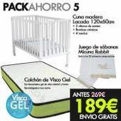 Pack de Ahorro Cuna madera + Colchon Visco Gel + Sabanas micuna