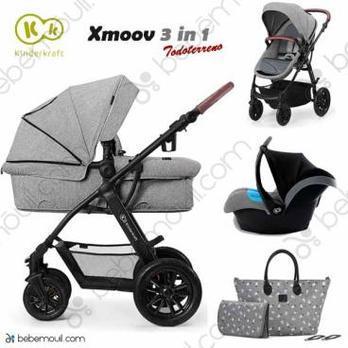 Cochecito de bebé Kinderkraft Xmoov 3 en 1 Trio Grey