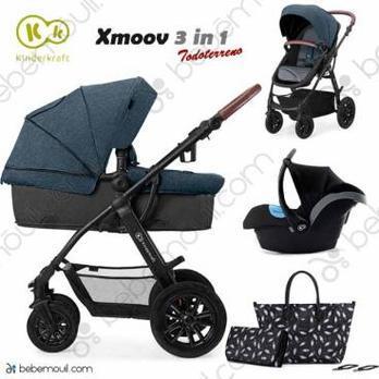 Cochecito de bebé Kinderkraft Xmoov 3 en 1 Trio Denim