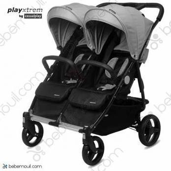 Silla de paseo gemelar Playxtrem Baby Twin Silver