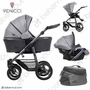 Cochecito de bebé Venicci Carbo 3 in 1 Trio Natural Grey Lux