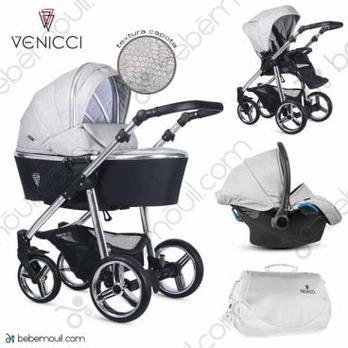 Cochecito de bebé Venicci Silver 3 in 1 Trio Wild Grey