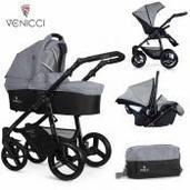 Cochecito de bebé Venicci Soft 3 in 1 Trio Med Grey Black