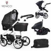 Cochecito de bebé Venicci Soft 3 in 1 Trio Denim Black White