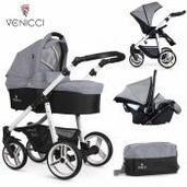 Cochecito de bebé Venicci Soft 3 in 1 Trio Med Grey White