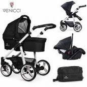 Cochecito de bebé Venicci Soft 3 in 1 Trio Black White